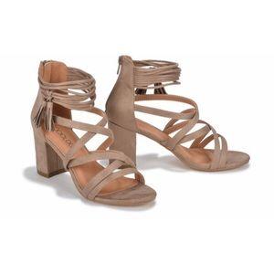 NWT Sociology Tan Vivian cross front heel sandals
